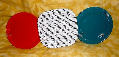 3 Assorted plastic plates teal orange white with black spots square & round