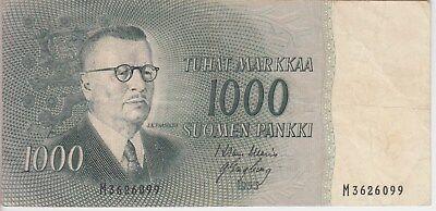 FINLAND BANKNOTE P93-6099, 1000 1.000 1,000 MARKKAA 1955, PREFIX M, VF