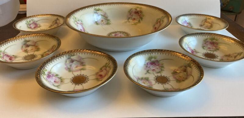 Antique PM Bavaria Handpainted Porcelain large fruit bowl & 6 serving bowls set