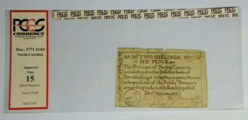 1771 Province of North Carolina 2 Shillings 6 Pence Note