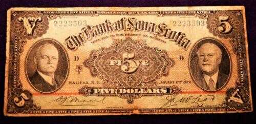 BANK OF NOVA SCOTIA  1929  $5.00 - LARGE FORMAT