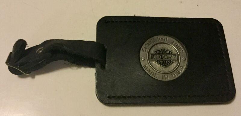 HARLEY DAVIDSON LEATHER LUGGAGE TAG BAR & SHIELD LOGO W/box