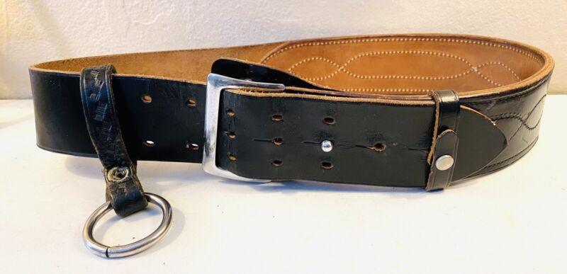 Bucheimer Vintage Wide Black Leather Ammo Police Officer Belt Sz 36