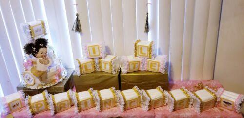 Little Princess Alphabet Baby Block Diaper Cake Baby Shower Centerpiece Gift Set