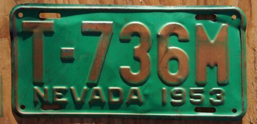 1953 Nevada Truck License Plate - Gold & Green