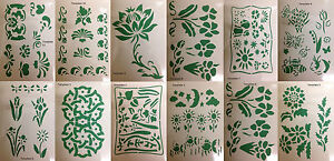 Wall painting stencil reusable flower leaf border design - Border stencils for painting ...