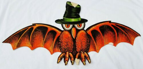 RARE Vintage HALLOWEEN Beistle Creepy Owl Bat Raven Diecut  Large decor Antique