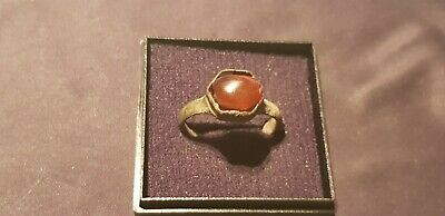 Stunningly beautiful Viking bronze, Amber ring. A must read description. L125d