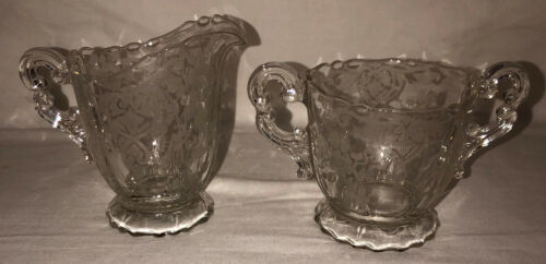"Cambridge APPLE BLOSSOM CRYSTAL 4"" CREAMER & 3"" SUGAR  #3400/68"