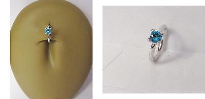 Surgical Steel Aqua Crystal Claw Set Seamless Belly Navel Hoop 16 gauge 16g ()