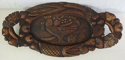 Antique Carved Wood Handled Tray Compote of Fruit & Fruits & Leaf Border
