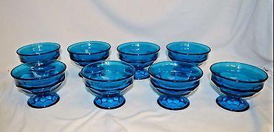 SET OF 8 AQUA BLUE GLASS FOOTED DESERT DISHES - PEDESTAL BOWL - ICE CREAM