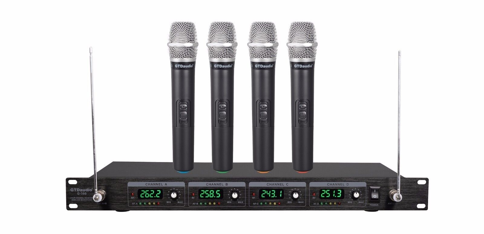 GTD Audio 4 Channel VHF Handheld Wireless Microphone System Mic (Brand New) 380H