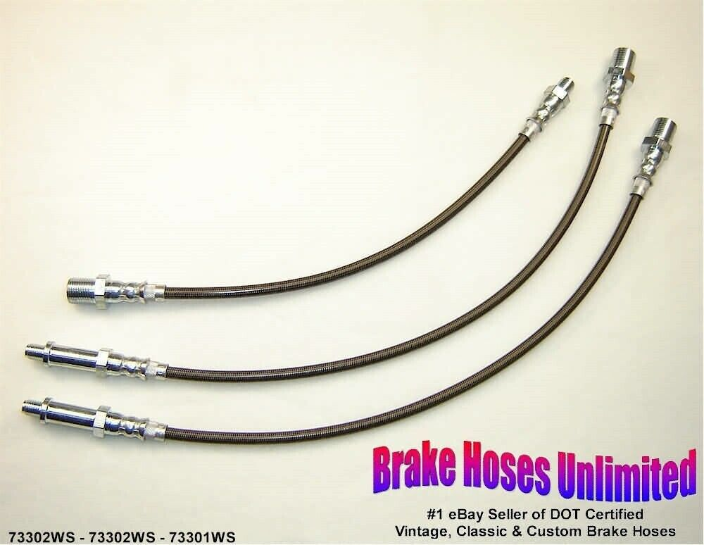 STAINLESS BRAKE HOSE SET Scout 1968 1969 w/RA-9, 4 cyl