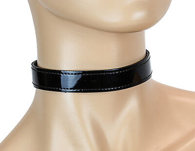Patent Choker - Patent Black Shiny Fetish Plain Choker Buckle Back Club wear Rockabilly-Black