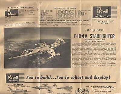 Lockheed F-104A Starfighter by Revell Assembly Instructions 1956