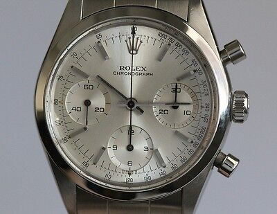 Rolex Mens Stainless Steel 6238 Pre Daytona Silver Dial W/Rolex Service Papers