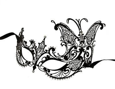 Mask Venetian Wolf Butterfly Lace Mini Dress Black Metal Carnival Venice 1268