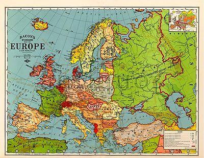 "Bacon's Standard Wall MAP of EUROPE circa 1921 24"" x 32"" Big"