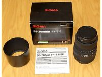 Sigma 55-200mm f/4-5.6 DC, Canon EF-S fit, with UV filter, Lens Hood, Box and Instructions, £50.