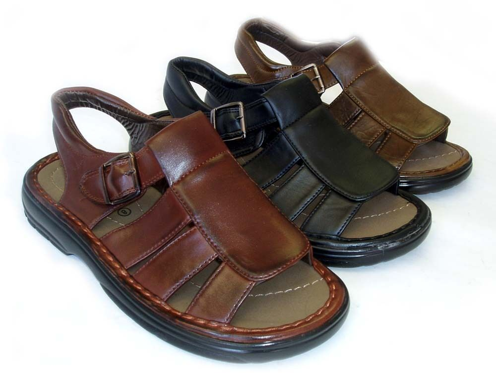NEW MENS LEATHER STRAP FISHERMAN COMFORT SANDALS Open Toe / 3 COLORS