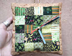 Textile Patchwork Handmade Original Funny Unusual Art - Wall Clock The Pillow