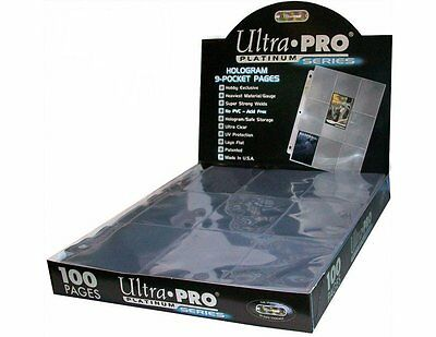 Box 100 Ultra PRO Platinum 9-Pocket Hologram Card Album Pages/Binder Sheets