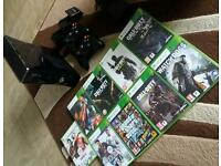XBOX 360 250gb slim console, 2 controllers and games