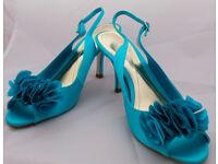 Elegant High Heel, Open Toe Silk Jade Shoes (Monsoon) - 6UK