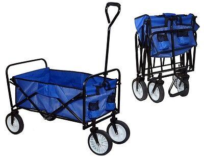 Blue Utility Collapsible Yard Garden Folding Wagon Toy Shopping Sport Beach Cart