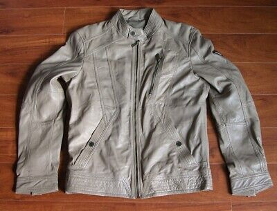 Guess Los Angeles Cafe Leather Jacket Mens M Beige w/ Defect