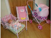 Baby Doll with Crib, Pram & Changing Mat
