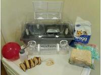 Hamster cage - complete with accessories, food and bedding