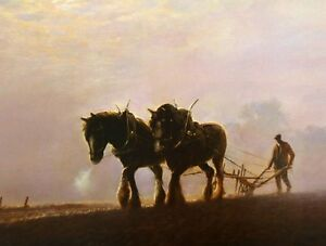 BEAUTIFUL PRINT / PICTURE / PAINTING OF SHIRE HORSES WORKING THE FIELD