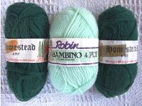Vintage (1 partially used?) 3 balls green 4 ply knitting yarn.1 Bambino;2 Homestead.£2 lot/£1 ea