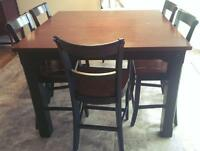 Dining set, includes table and six chairs, bar height