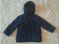 Boys Aged 18-24 Months Navy Fleece Winter Coat