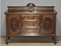 Attractive Large Vintage Mahogany Gallery Back Sideboard Cabinet