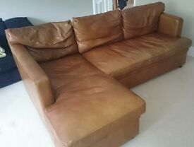 Lovely Tan Leather 3 Seater Sofa with Storage