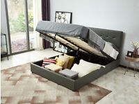 Sophia King Size Leather Effect Ottoman Bed - Grey