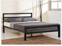 Metal Black double bed frame + mattress