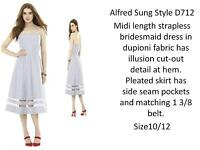 Alfred Sung style D712 tea length bridesmaids dress in Charm