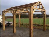 new 4.8m x 4.2m wooden car port hot tub bbq shelter