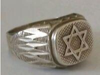 Unusual vintage silver man's star of david signet ring