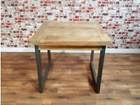 Extendable Industrial Dining Table Rustic Hardwood - Folding Space Saving Design