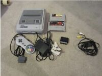 SNES Super Nintendo with Games and Adapter Mario