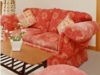 Sofa Red fabric three seater chesterfield style - shabby chic - two items £40 each