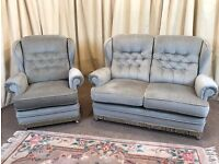 2 Piece Suite Green 2 Seater Sofa & Armchair High Wing Back - FREE Delivery Available