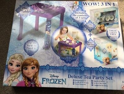 New Disney Frozen Deluxe Tea Party Set with Table Paint your own 3 in 1 ()