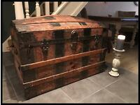 VINTAGE LEATHER & WOODEN DOMED TOP STEAMER TRUNK/CHEST